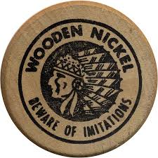 Standard Indian Head Obverse on Wooden Nickels